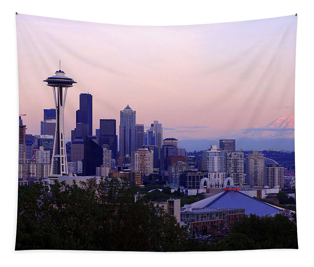 Seattle Tapestry featuring the photograph Seattle Dawning by Chad Dutson