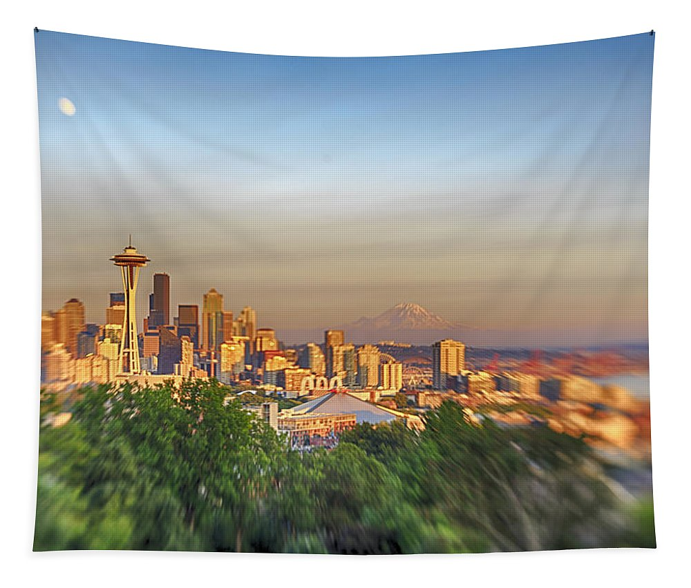 Seattle Tapestry featuring the photograph Seattle Skyline Lens Baby Hdr by Scott Campbell
