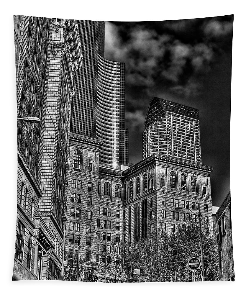 Seattle Tapestry featuring the photograph Seattle's Old And New by David Patterson