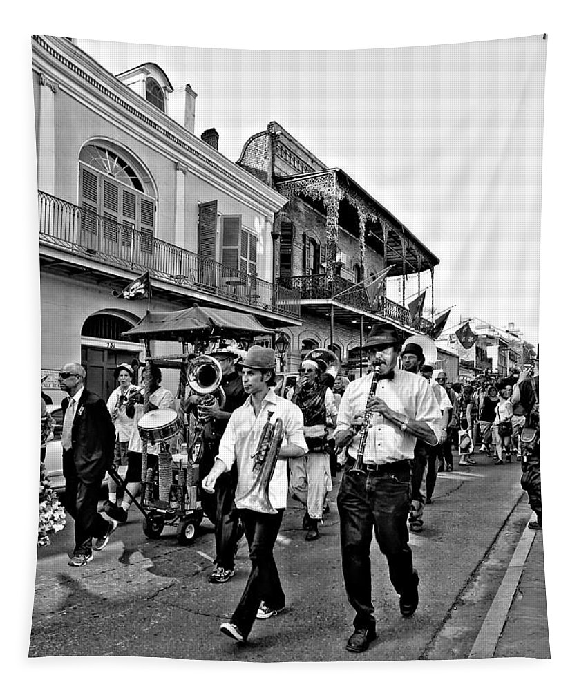 French Quarter Tapestry featuring the photograph Second Line Parade Bw by Steve Harrington