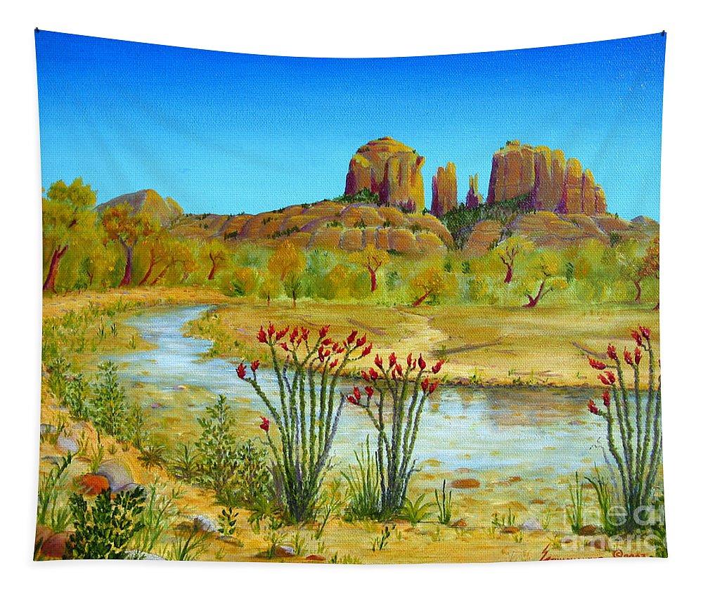 Sedona Tapestry featuring the painting Sedona Arizona by Jerome Stumphauzer