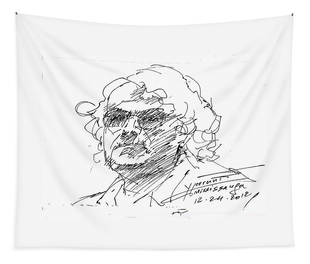 Selfportrait Tapestry featuring the drawing Selfportrait by Ylli Haruni