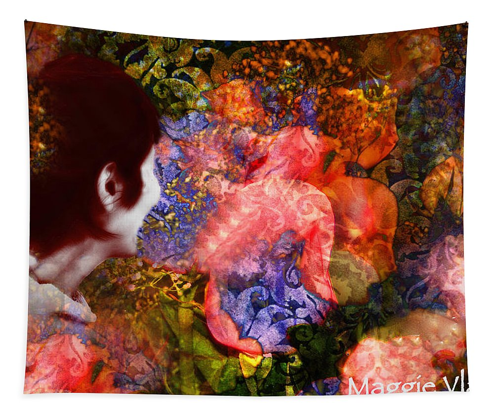 Art Tapestry featuring the painting Girl Looking Toward Future by Femina Photo Art By Maggie
