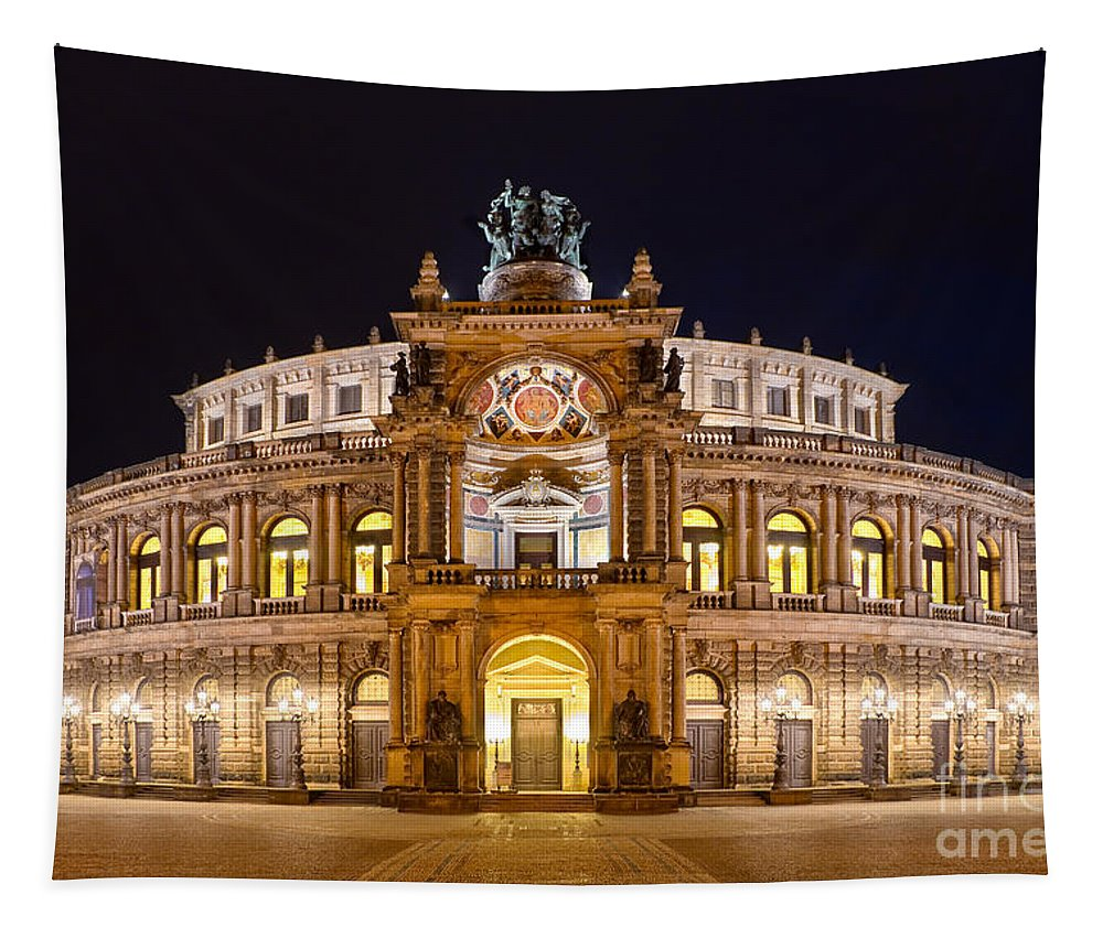 Dresden Tapestry featuring the photograph Semperoper by Delphimages Photo Creations
