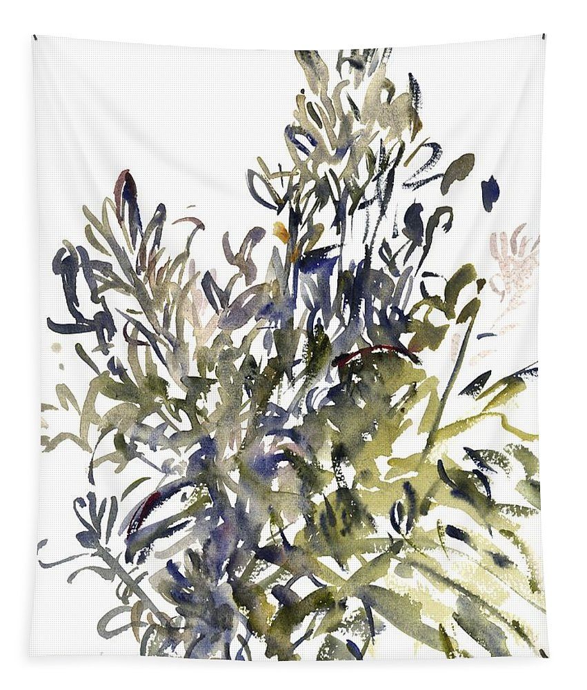 Senecio Tapestry featuring the painting Senecio And Other Plants by Claudia Hutchins-Puechavy