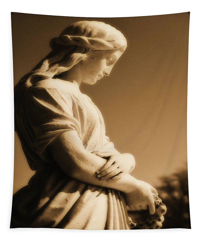 Brown Tapestry featuring the photograph Sepia Angel Dream by Gothicrow Images