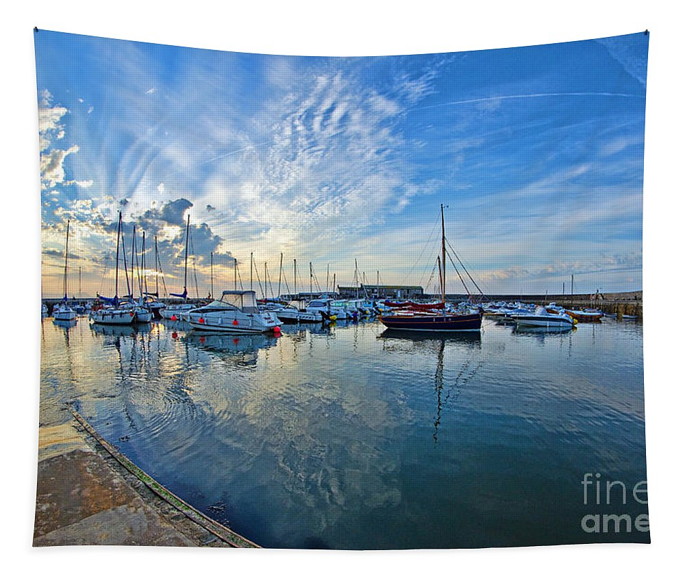 Lyme Regis Tapestry featuring the photograph September Morning At Lyme Regis by Susie Peek