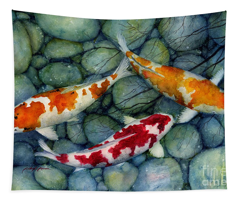Koi Tapestry featuring the painting Serenity Koi by Hailey E Herrera