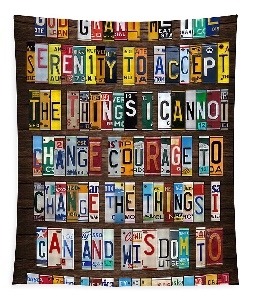 Serenity Prayer Tapestry featuring the mixed media Serenity Prayer Reinhold Niebuhr Recycled Vintage American License Plate Letter Art by Design Turnpike