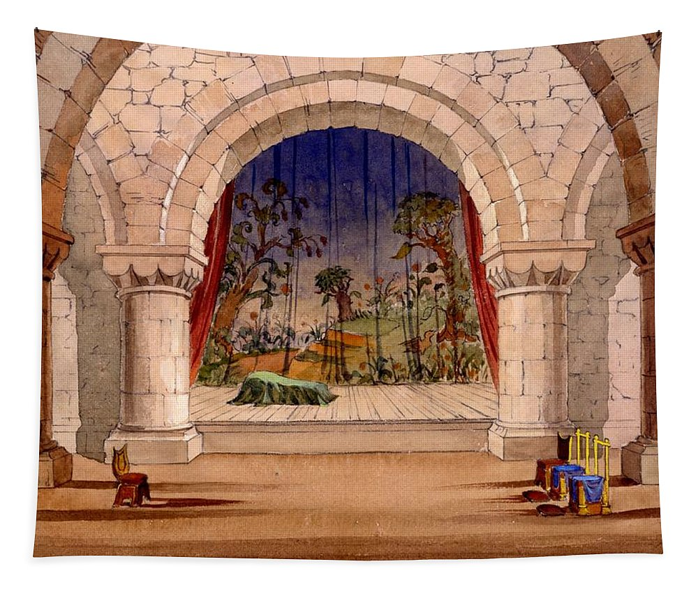 Set Design Tapestry featuring the drawing Set Design For Hamlet By William by English School