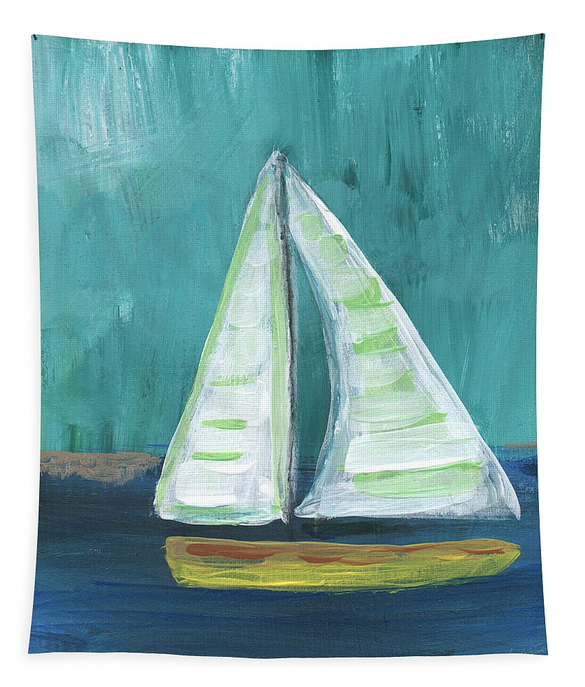 Boat Tapestry featuring the painting Set Free- Sailboat Painting by Linda Woods