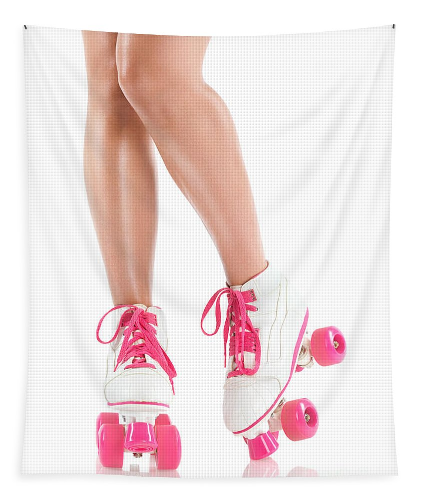 Roller Skates Tapestry featuring the photograph Sexy Girl Legs In White Pink Roller Skates by Oleksiy Maksymenko