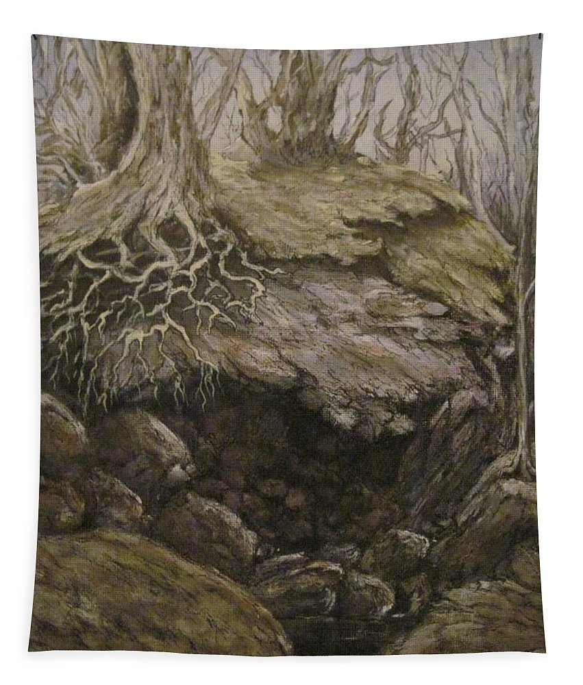 Fantasy Tapestry featuring the painting Shades Of Froud by Megan Walsh