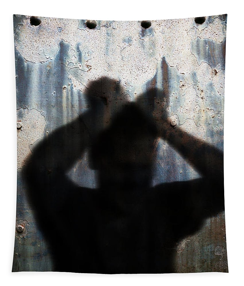 Shadow Tapestry featuring the photograph Shadow Of A Man by Edward Fielding