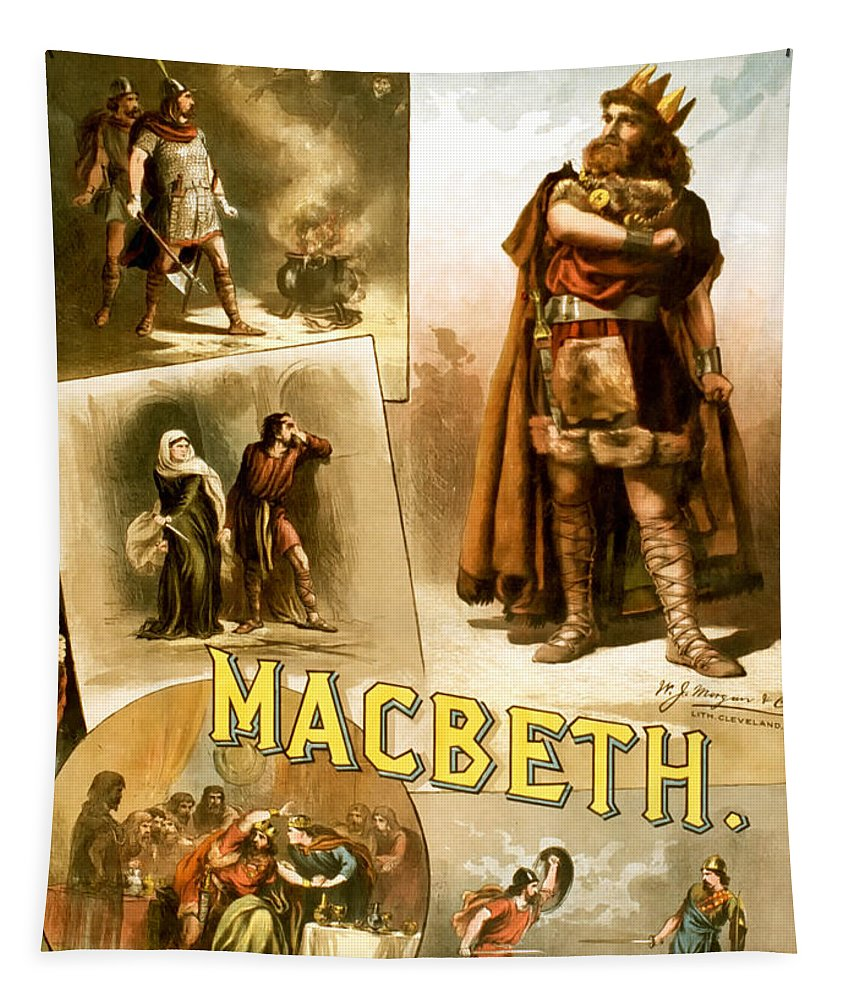 William Shakespeare Tapestry featuring the photograph Shakespeare's Macbeth 1884 by Mountain Dreams