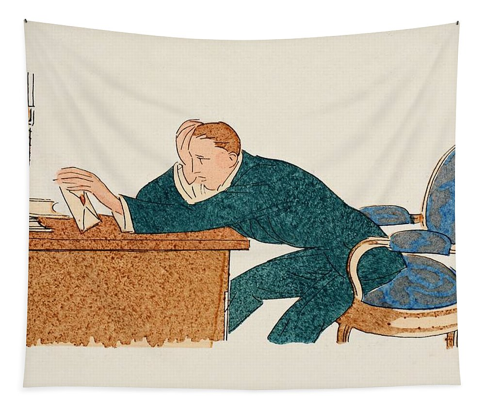 Man Tapestry featuring the drawing Shall I Send It Or Not by French School