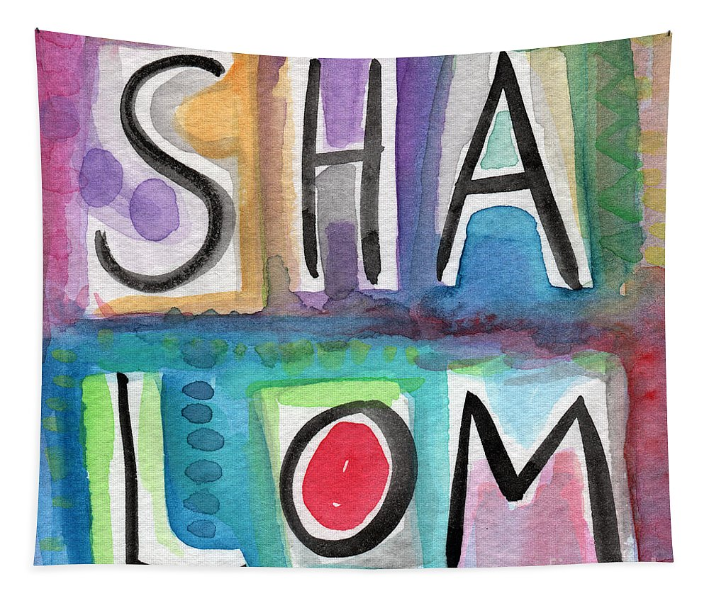 Shalom Tapestry featuring the painting Shalom - Square by Linda Woods