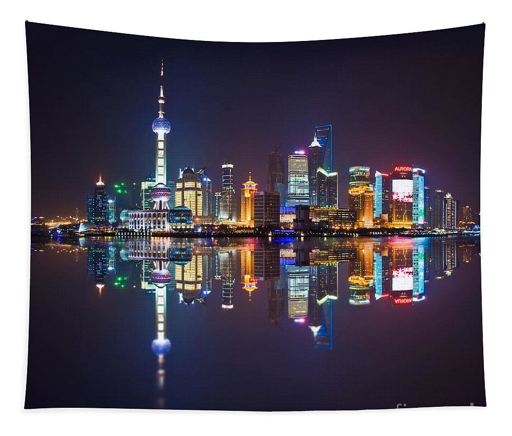 Shanghai Tapestry featuring the photograph Shanghai Reflections by Delphimages Photo Creations