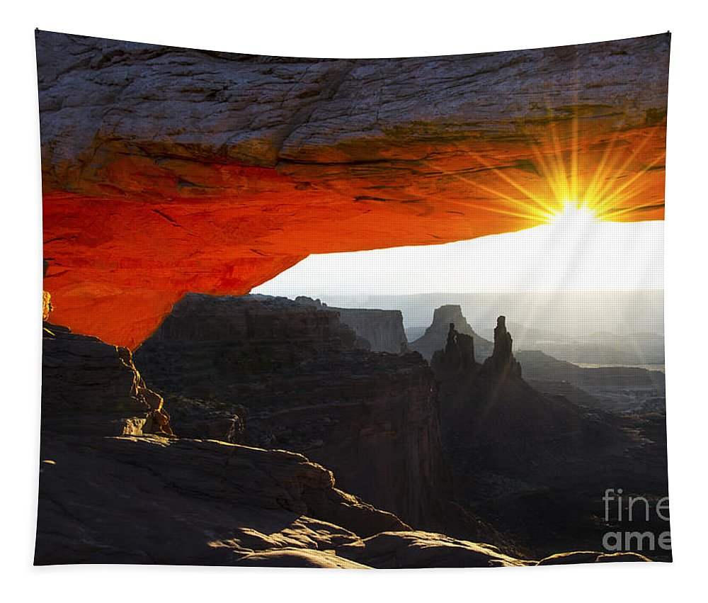 Mesa Arch Tapestry featuring the photograph Sheer Magic Mesa Arch Utah by Bob Christopher