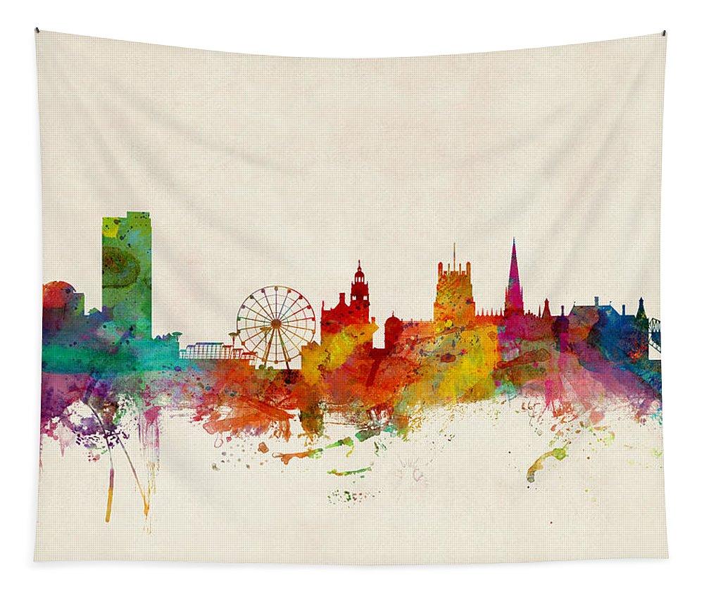 City Tapestry featuring the digital art Sheffield England Skyline by Michael Tompsett