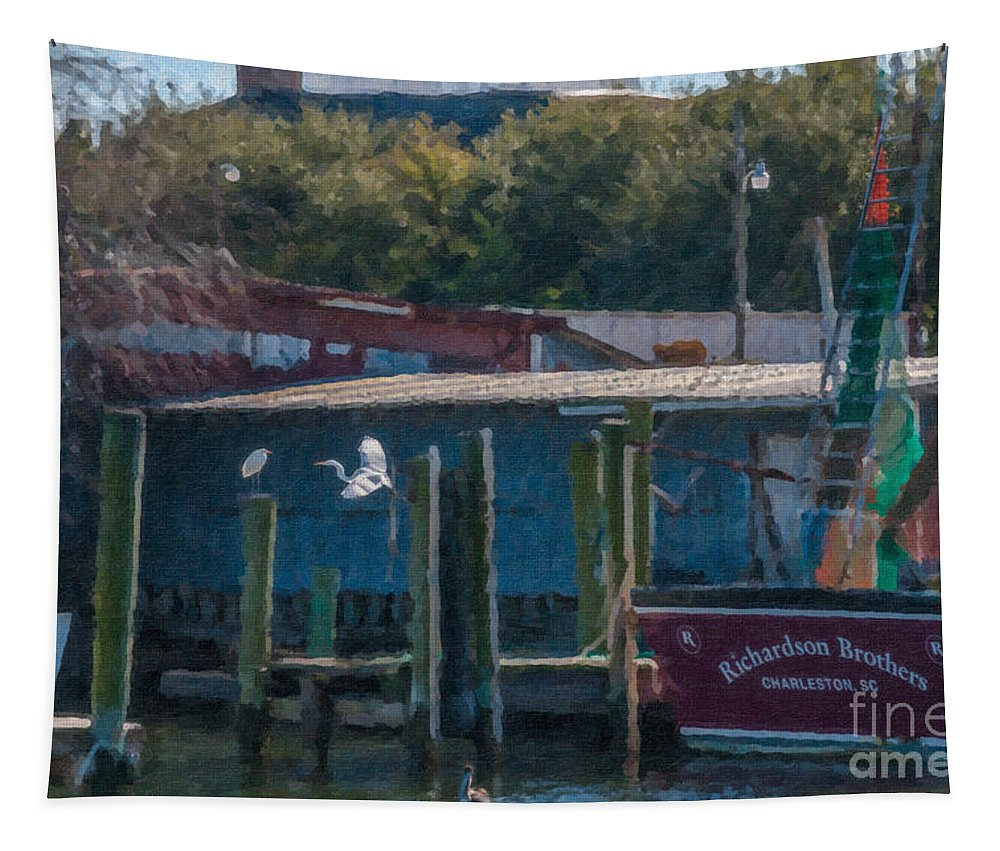 Shem Creek Tapestry featuring the digital art Shem Creek Gathering by Dale Powell
