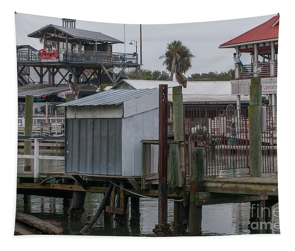 Shem Creek Tapestry featuring the photograph Shem Creek Resturants by Dale Powell