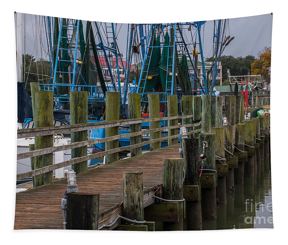 Shem Cree Tapestry featuring the photograph Shem Creek Wharf by Dale Powell
