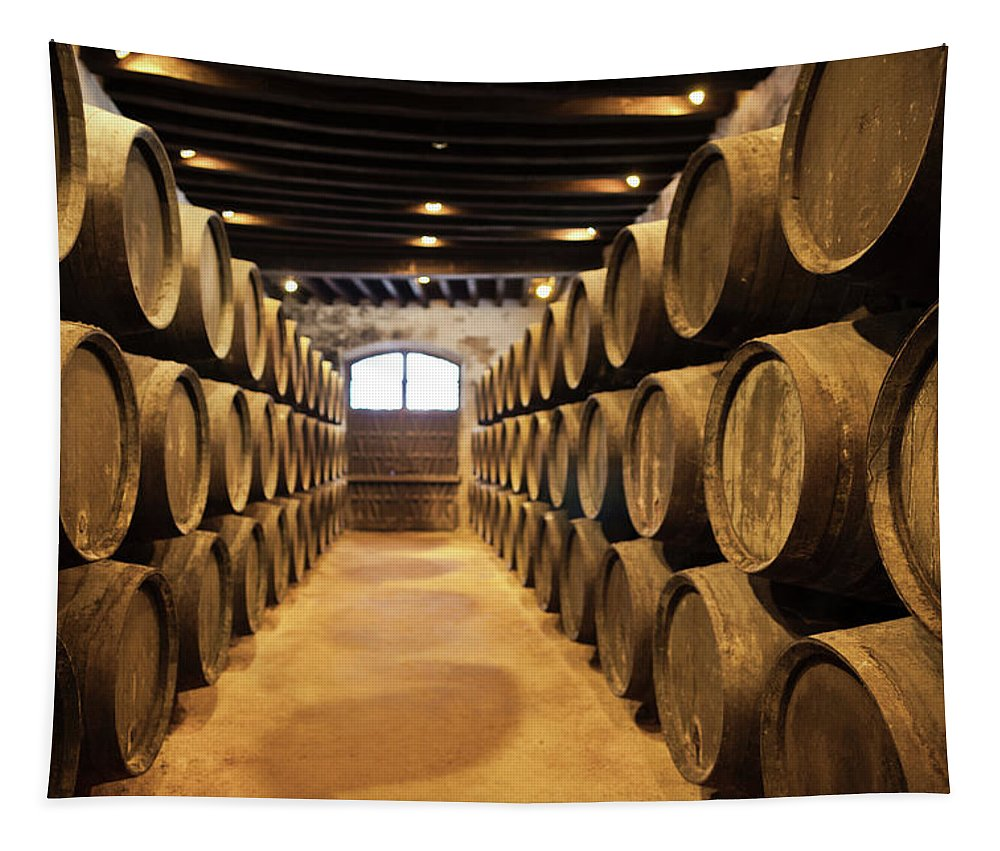 Photography Tapestry featuring the photograph Sherry Casks In A Winery, Gonzalez by Panoramic Images