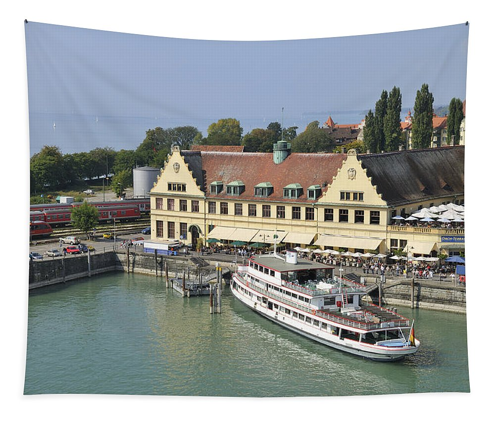 Lindau Tapestry featuring the photograph Ship In The Lindau Harbor Lake Constance Germany by Matthias Hauser