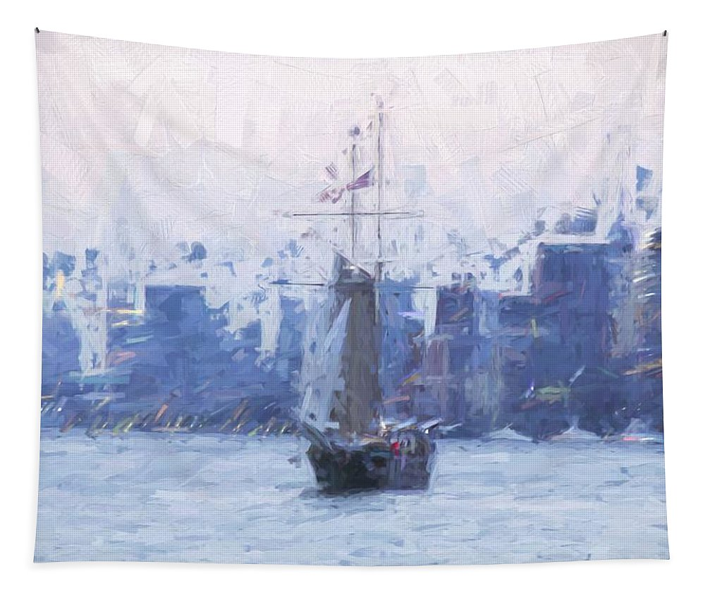 Boat Tapestry featuring the photograph Ship Through The Haze by Alice Gipson