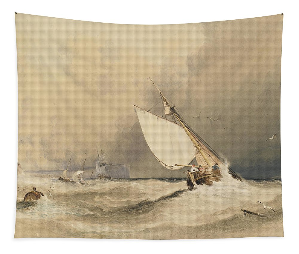 Ships Tapestry featuring the painting Ships At Sea Off Folkestone Harbour Storm Approaching by Anthony Vandyke Copley Fielding