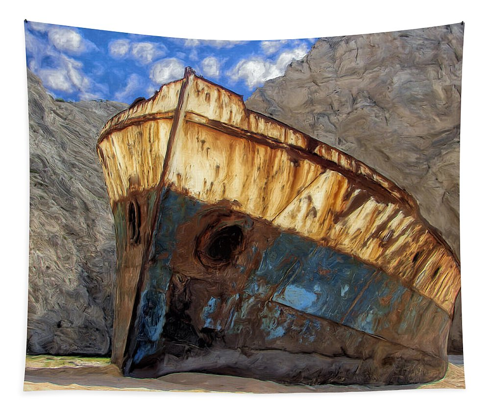 Shipwreck Tapestry featuring the painting Shipwreck At Smugglers Cove by Dominic Piperata