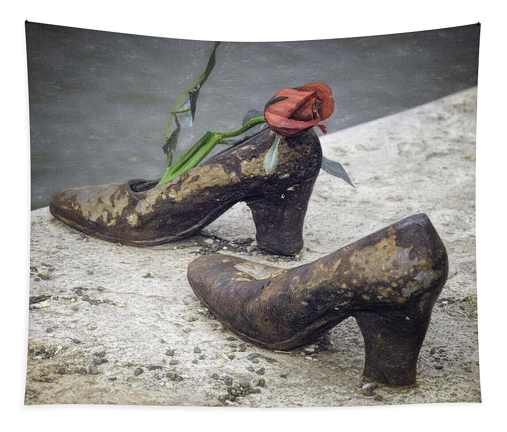 Joan Carroll Tapestry featuring the photograph Shoes On The Danube Bank by Joan Carroll