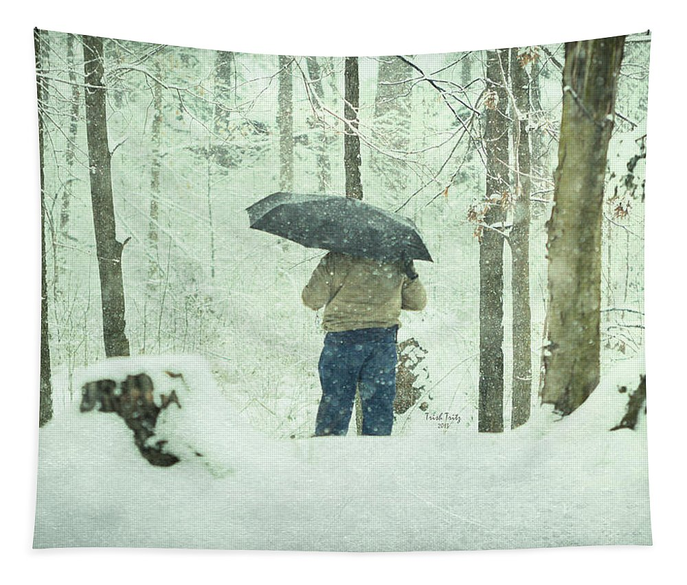 Man Tapestry featuring the photograph Shootin' In The Storm by Trish Tritz