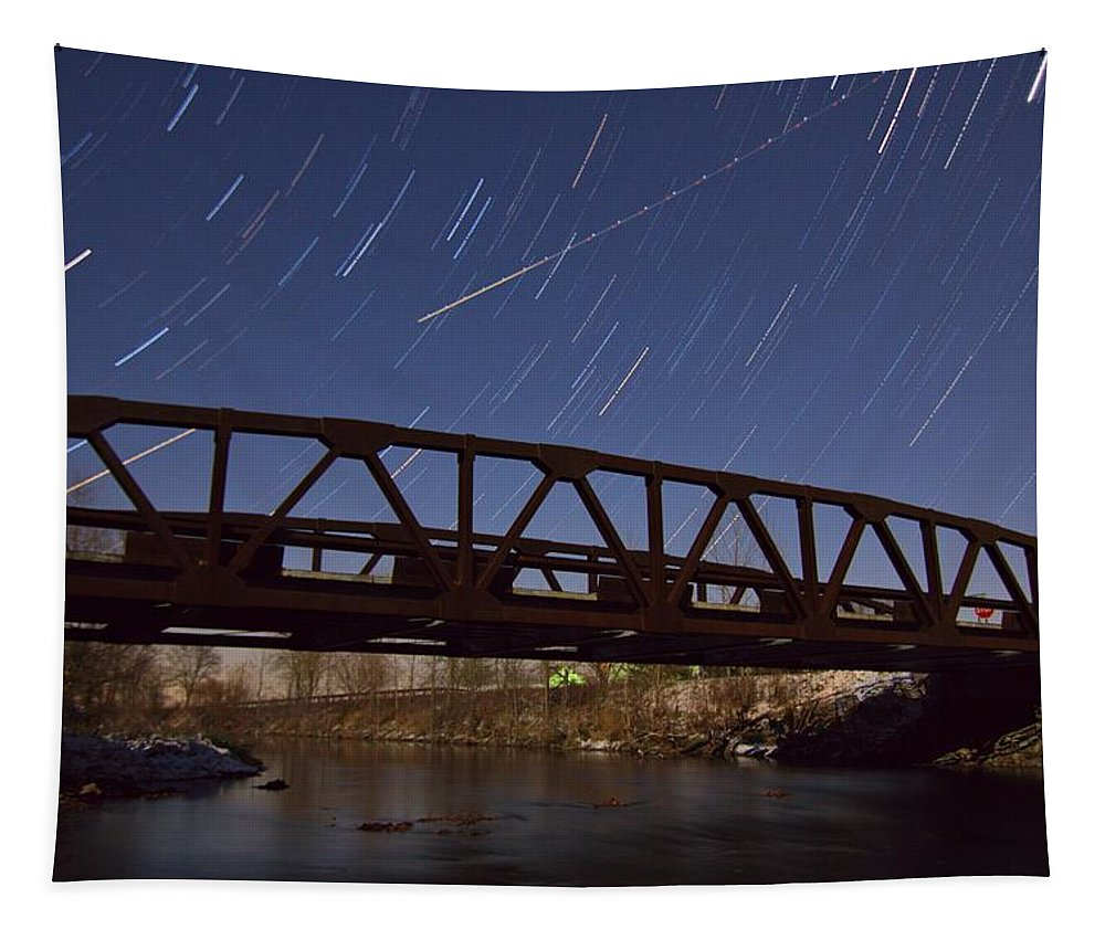 Shooting Star Over Bridge Tapestry featuring the photograph Shooting Star Over Bridge by Dan Sproul