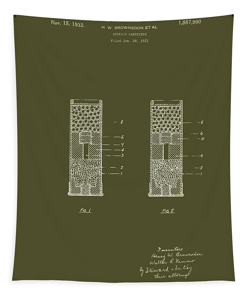 Patent Tapestry featuring the drawing Shotgun Cartridge Patent by Mountain Dreams