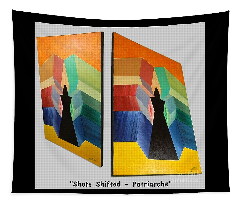 Spirituality Tapestry featuring the painting Shots Shifted - Patriarche 6 by Michael Bellon