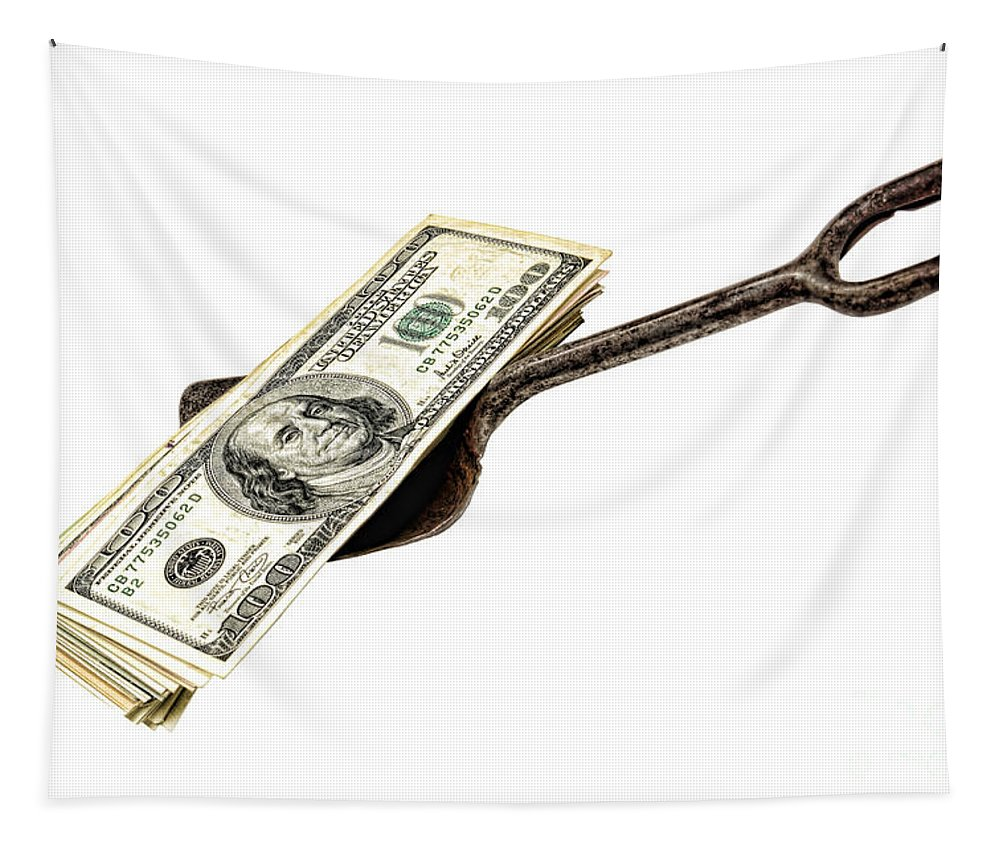 Cash Tapestry featuring the photograph Shovel Of Dollar by Olivier Le Queinec