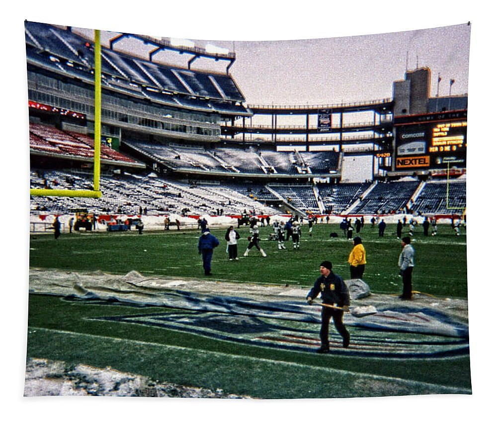 Sports Tapestry featuring the photograph Shoveling Before The Game by Mike Martin