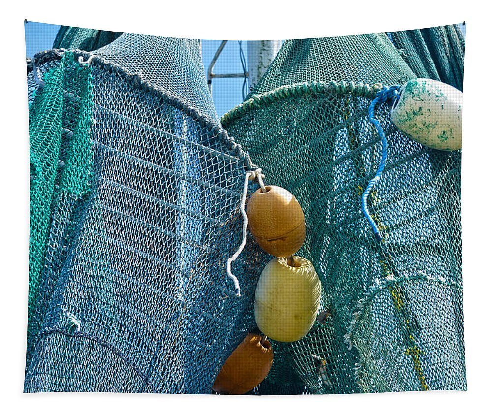 Shrimp Net Tapestry featuring the photograph Shrimp Net Close Up by Sandi OReilly