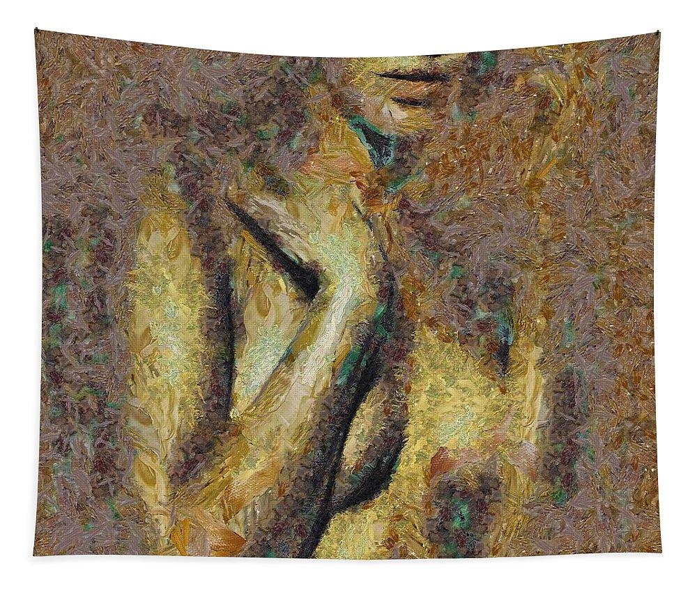Figurative Tapestry featuring the painting Shyness by Dragica Micki Fortuna