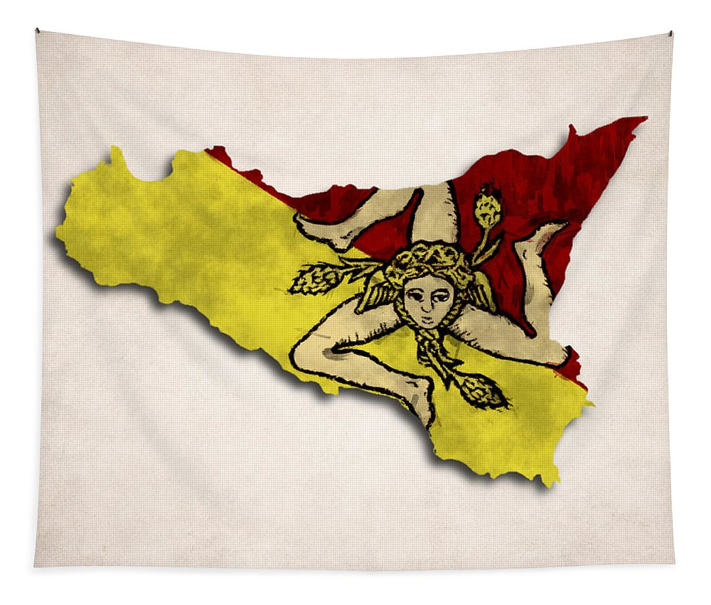 Atlas Tapestry featuring the digital art Sicily Map Art With Flag Design by World Art Prints And Designs