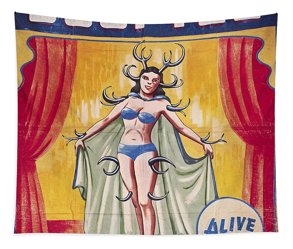 1950s Tapestry featuring the photograph Sideshow Poster, C1955 by Granger
