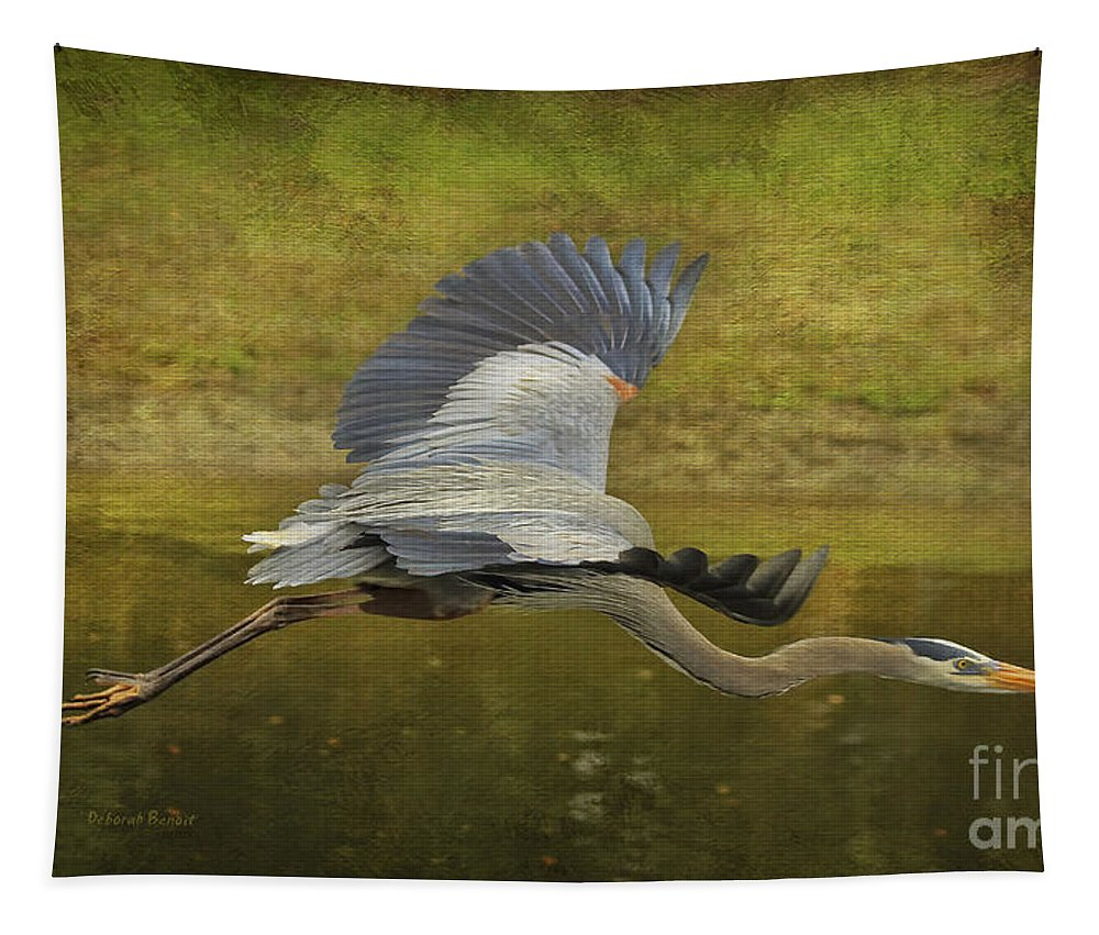 Heron Tapestry featuring the photograph Silent Grace by Deborah Benoit