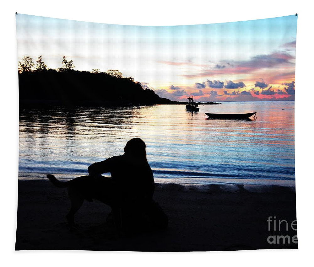 Michelle Meenawong Tapestry featuring the photograph Silhouette At Sunrise by Michelle Meenawong