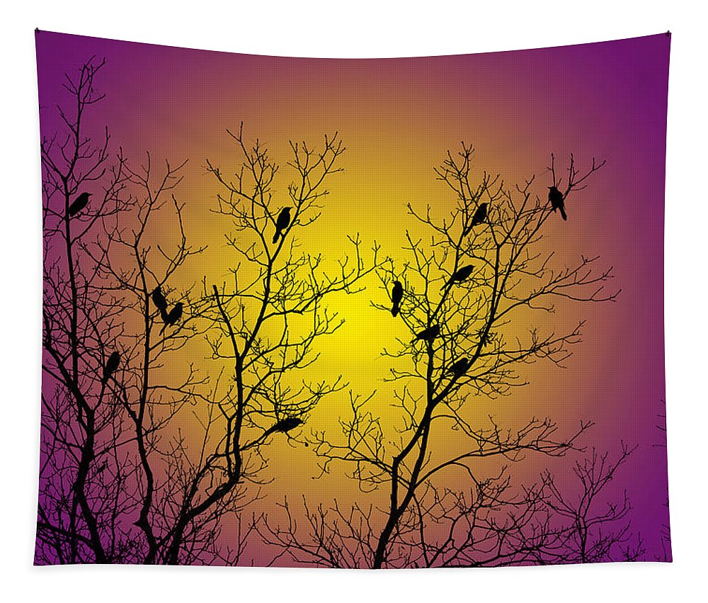 Birds Tapestry featuring the mixed media Silhouette Birds by Christina Rollo