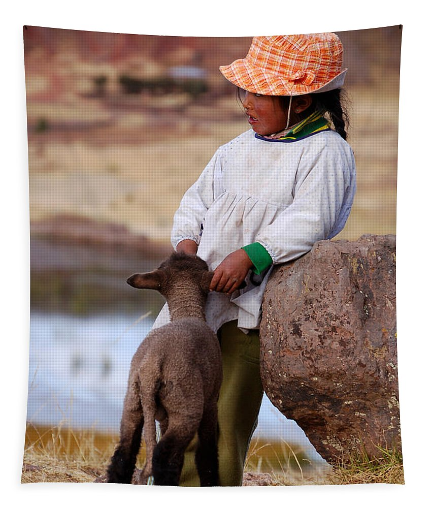 Girl Tapestry featuring the photograph Sillustani Girl With Hat And Lamb by RicardMN Photography