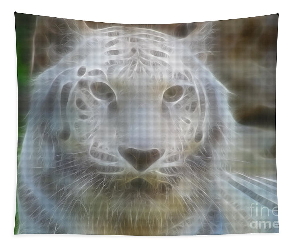 Tiger Tapestry featuring the photograph Silver-7963-fractal by Gary Gingrich Galleries