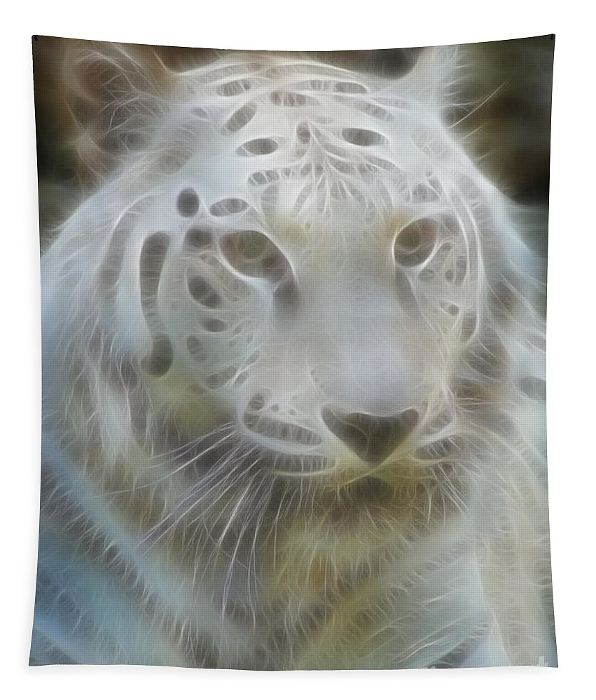 Tiger Tapestry featuring the photograph Silver-7988-fractal by Gary Gingrich Galleries