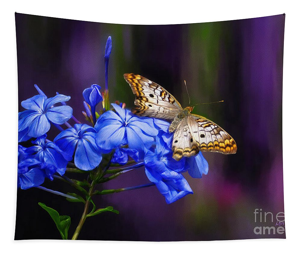 Butterfly Tapestry featuring the digital art Silver And Gold by Lois Bryan